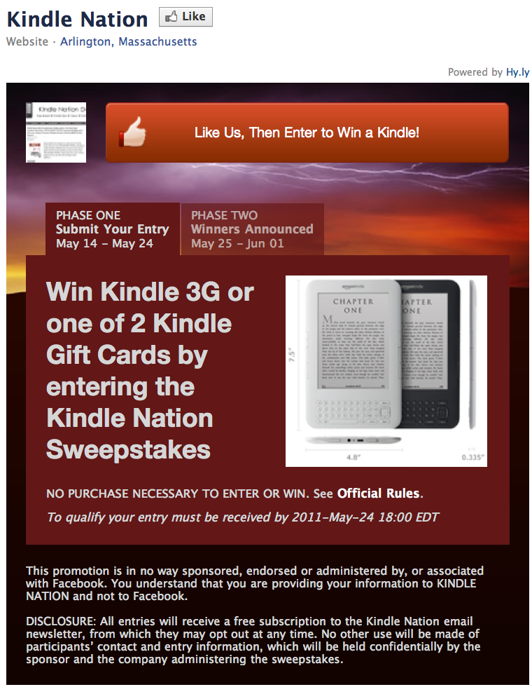 Kindle Nation Keeps Giving Back to Our Readers with a Brand New Chance to Win a Kindle 3G or Either of Two Gift Cards!