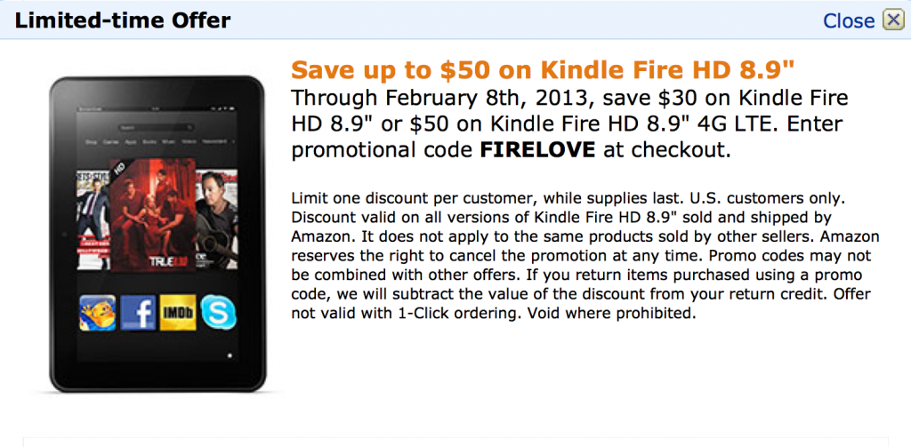 FINAL HOURS! Save up to $50 on Kindle Fire HD 8.9″ Through February 8th! Get the Promo Code Here or at http://bit.ly/Fire-HD-89-50-OFF!