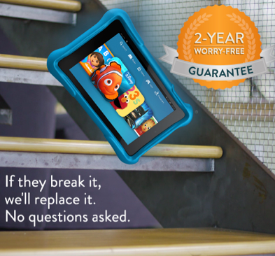 """If they break it, we'll replace it. No questions asked.""  Fire HD 6 Kids Edition, 6″ HD Display, Wi-Fi, 8 GB, Kid-Proof Case"