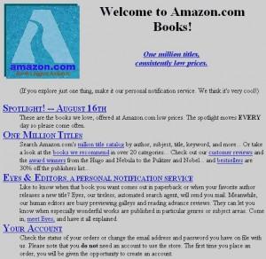 Amazon's website 1.0, Aug. 1995
